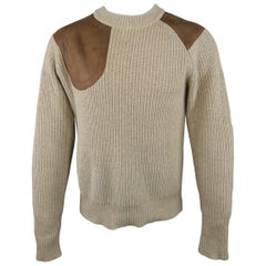 RRL by RALPH LAUREN Size M Beige Cotton Blend Brown Leather Patch Sweater
