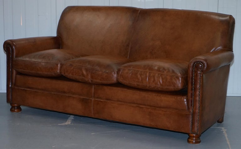 Tetrad Prince Three Seater Brown Leather Sofa Feather Filled ...