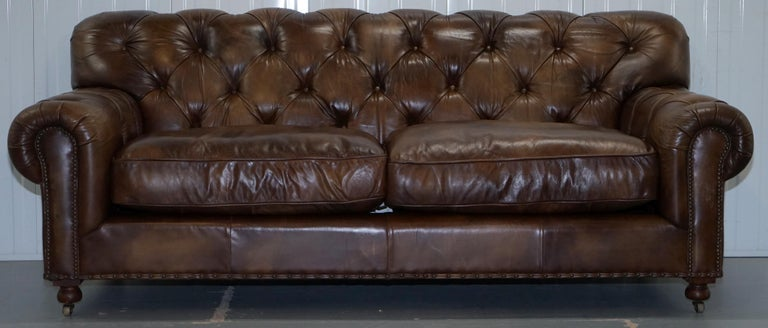 Timothy Oulton Chesterfield Brown Leather Large Sofa
