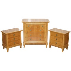 RRP Selva Italy Walnut Bedroom Suite of Chest Drawers and Bedside Tables