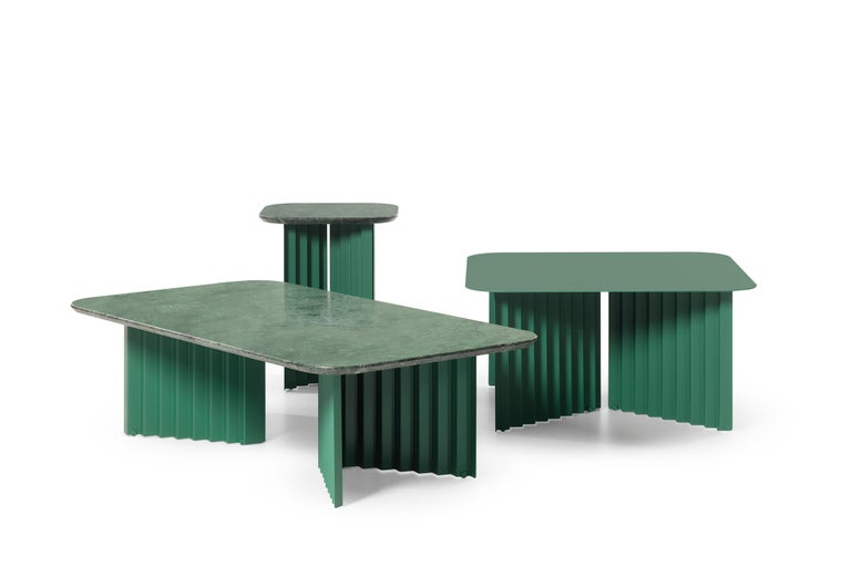 Plec is a collection of coffee and side tables that are as happy together as they are alone. With their accordion-shaped legs, all three Plec tables (large, medium and small) love creating light and shade effects at any time of day. The Plec table