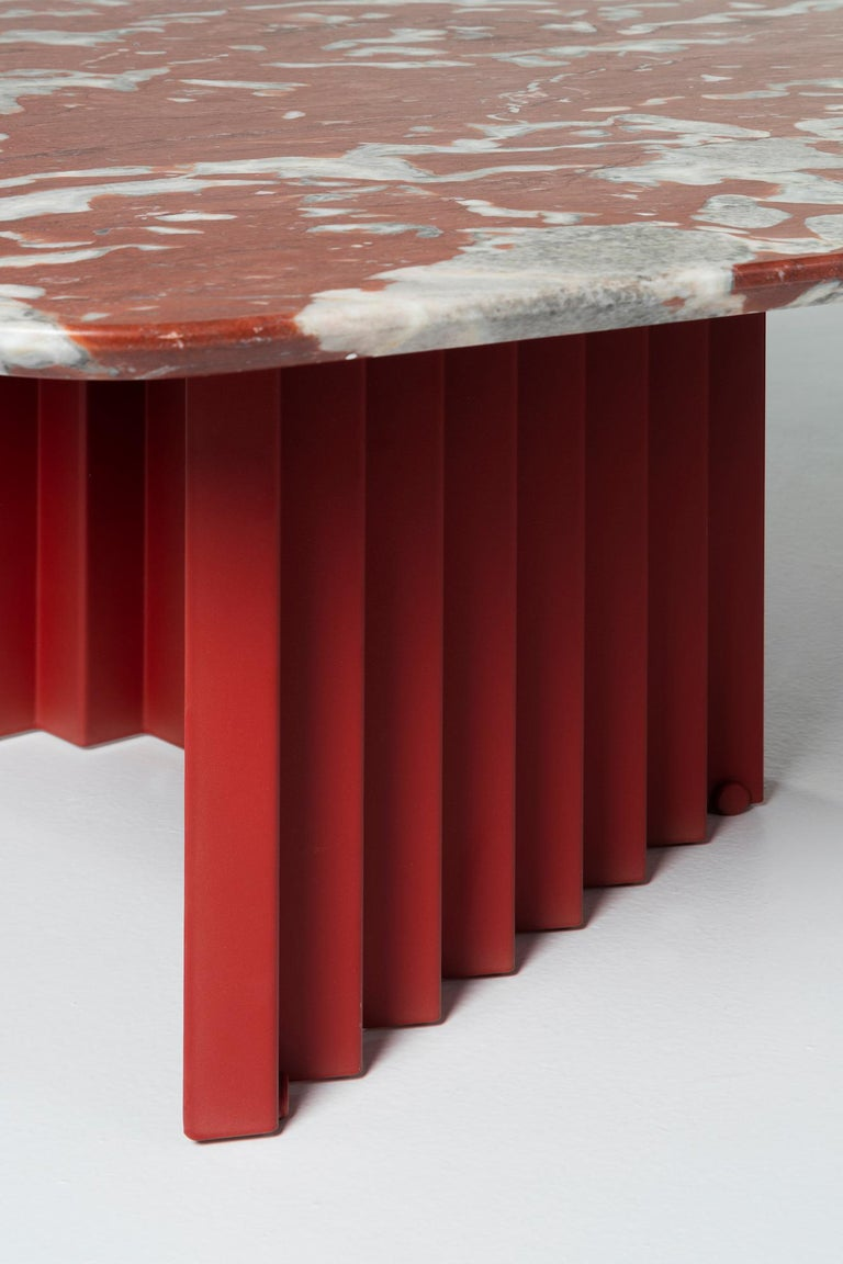 Modern RS-Barcelona Large Plec Table in Red and White Colored Marble by A.P.O. For Sale