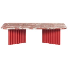 RS-Barcelona Large Plec Table in Red and White Colored Marble by A.P.O.