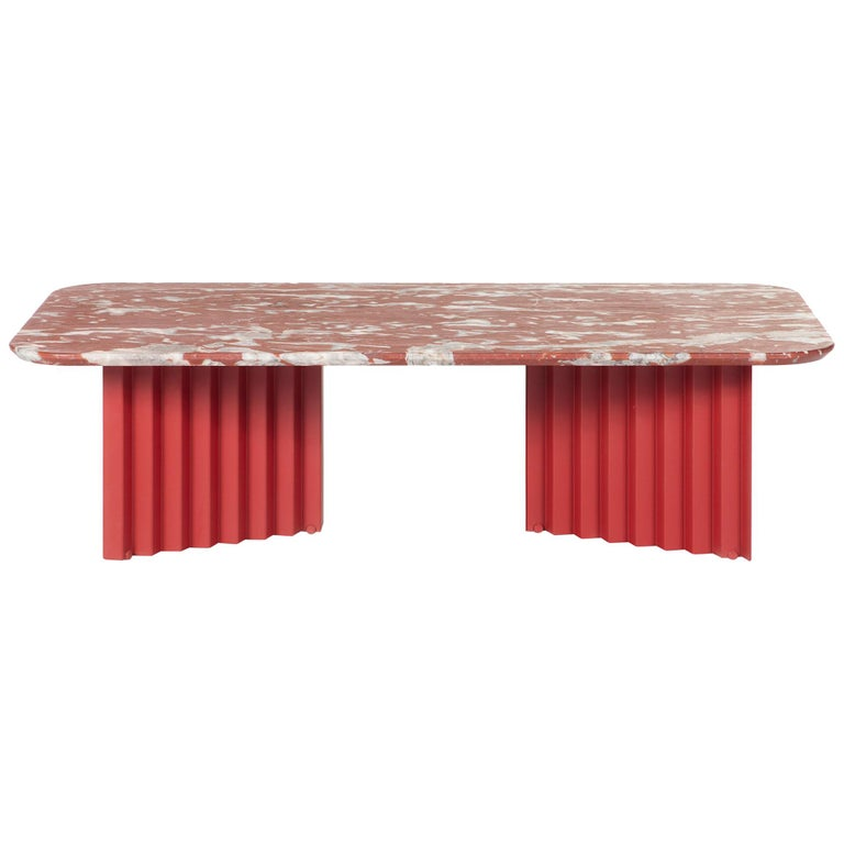 RS-Barcelona Large Plec Table in Red and White Colored Marble by A.P.O. For Sale