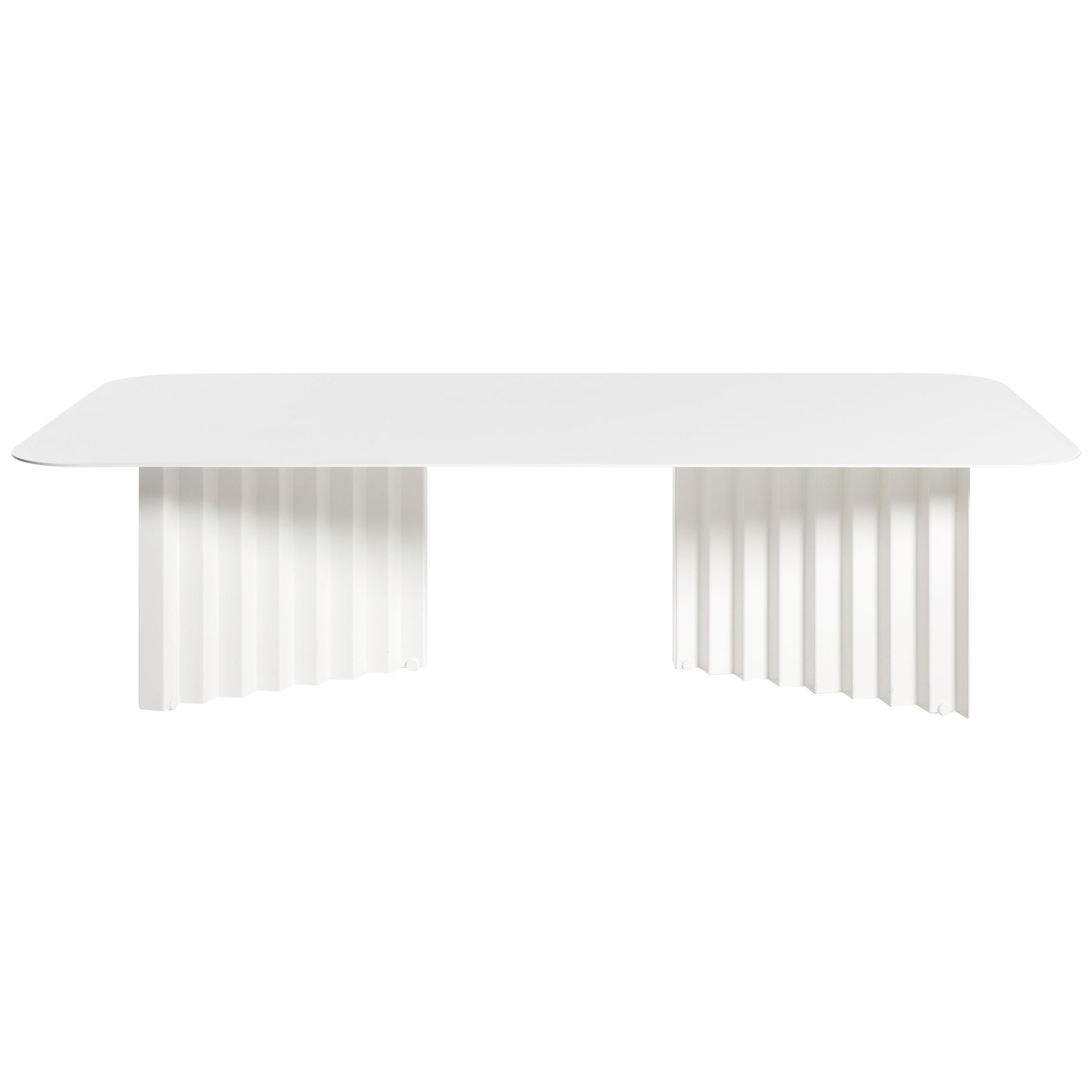 RS Barcelona Plec Large Table in White Metal by A.P.O.