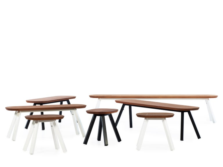Modern RS-Barcelona You and Me 220 Bench in Iroko Wood with Black Legs by A.P.O. For Sale
