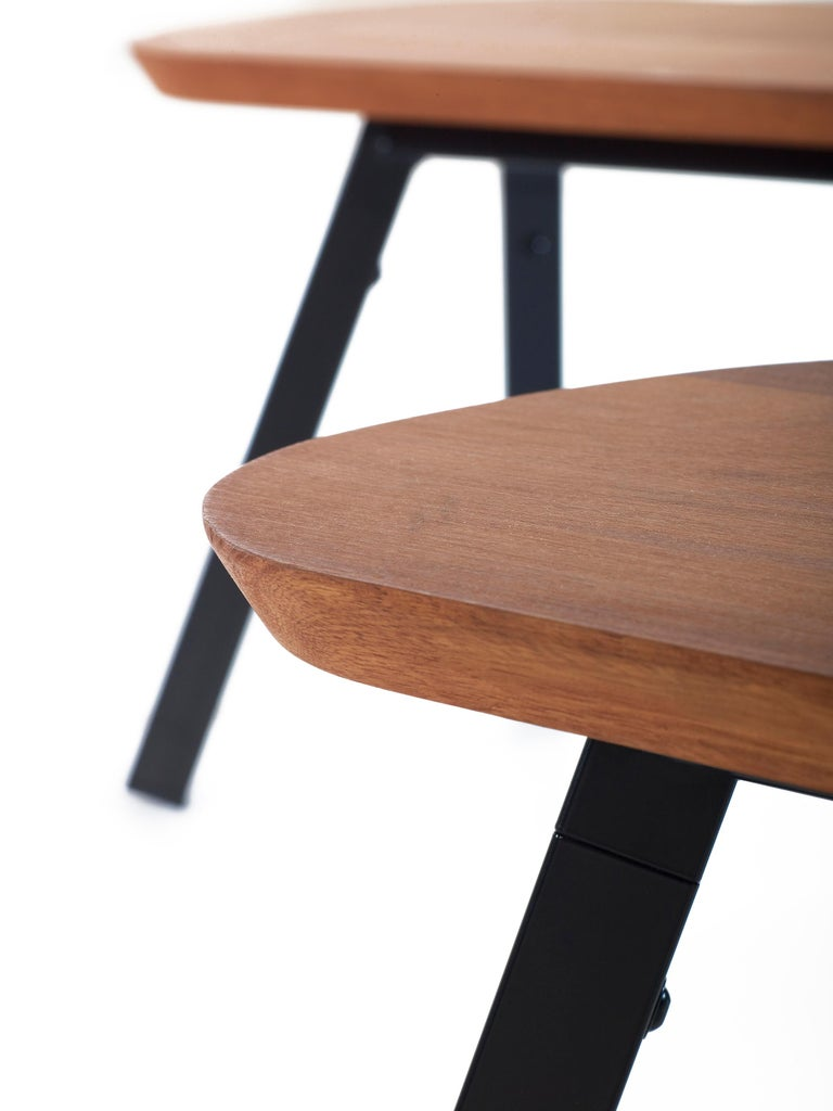 Spanish RS-Barcelona You and Me 220 Bench in Iroko Wood with Black Legs by A.P.O. For Sale