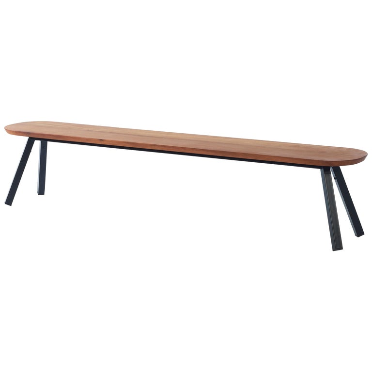 RS-Barcelona You and Me 220 Bench in Iroko Wood with Black Legs by A.P.O. For Sale