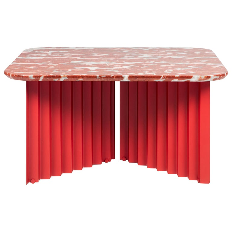 RS-Barcelona Medium Plec Table in Red Marble by A.P.O. For Sale