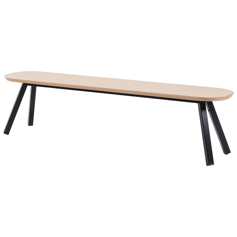 RS-Barcelona You and Me 180 Bench in Oak with Black Legs by A.P.O. For Sale