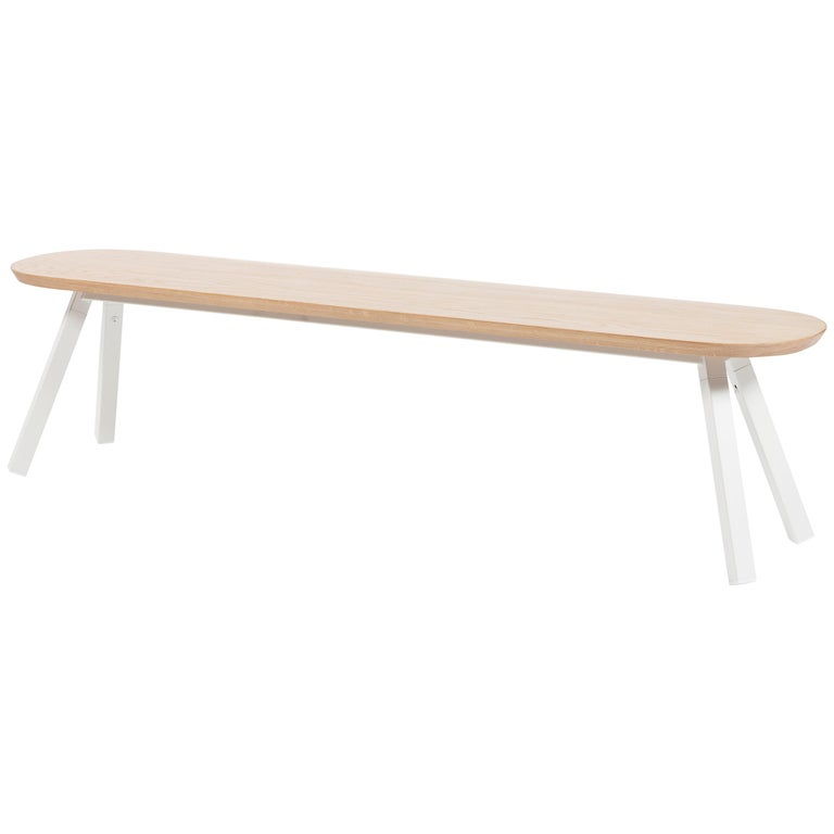 RS-Barcelona You and Me 180 Bench in Oak with White Legs by A.P.O. For Sale