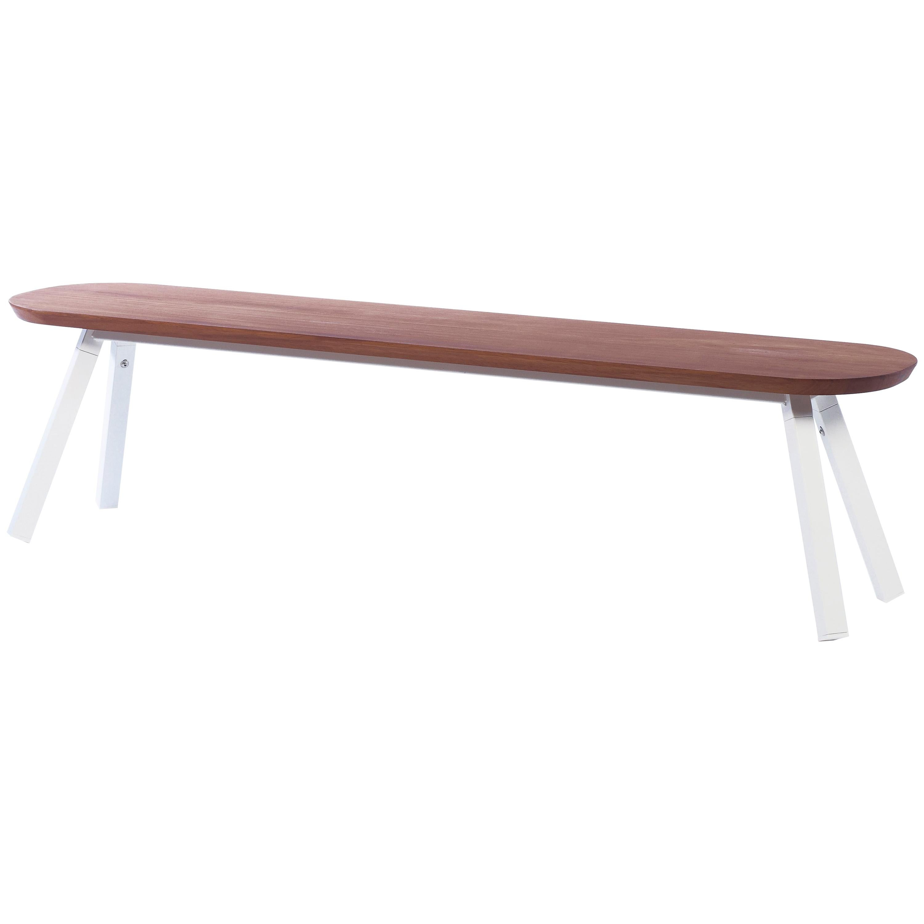 RS Barcelona You and Me 180 Bench in Iroko with White Legs by A.P.O