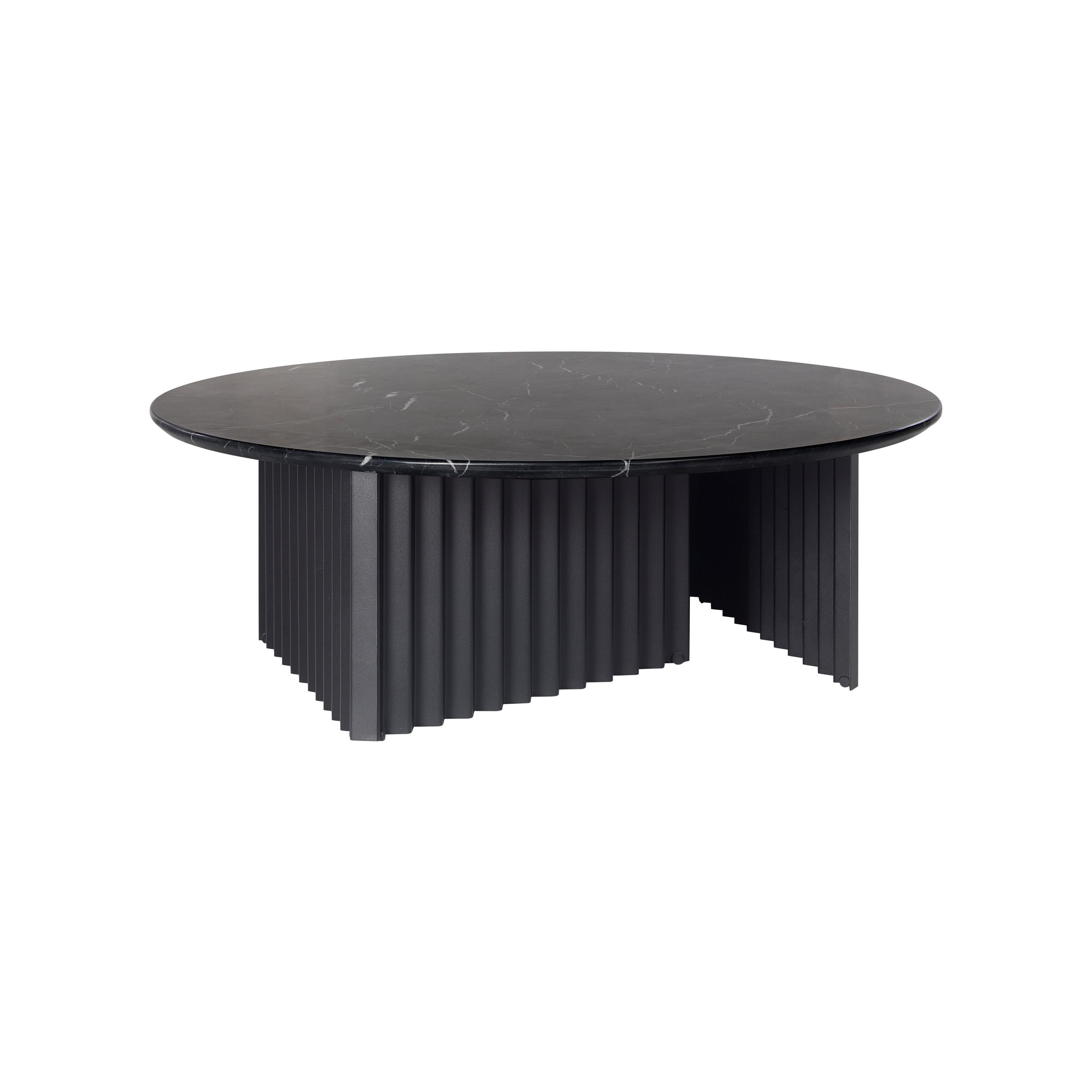 RS Barcelona Plec Round Large Table in Black Marble by A.P.O.