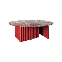 RS Barcelona Plec Round Large Table in Red Marble by A.P.O.