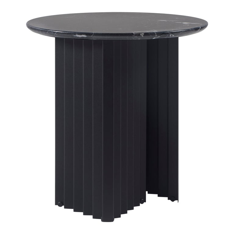 RS Barcelona Plec Round Small Table in Black Marble by A.P.O. For Sale