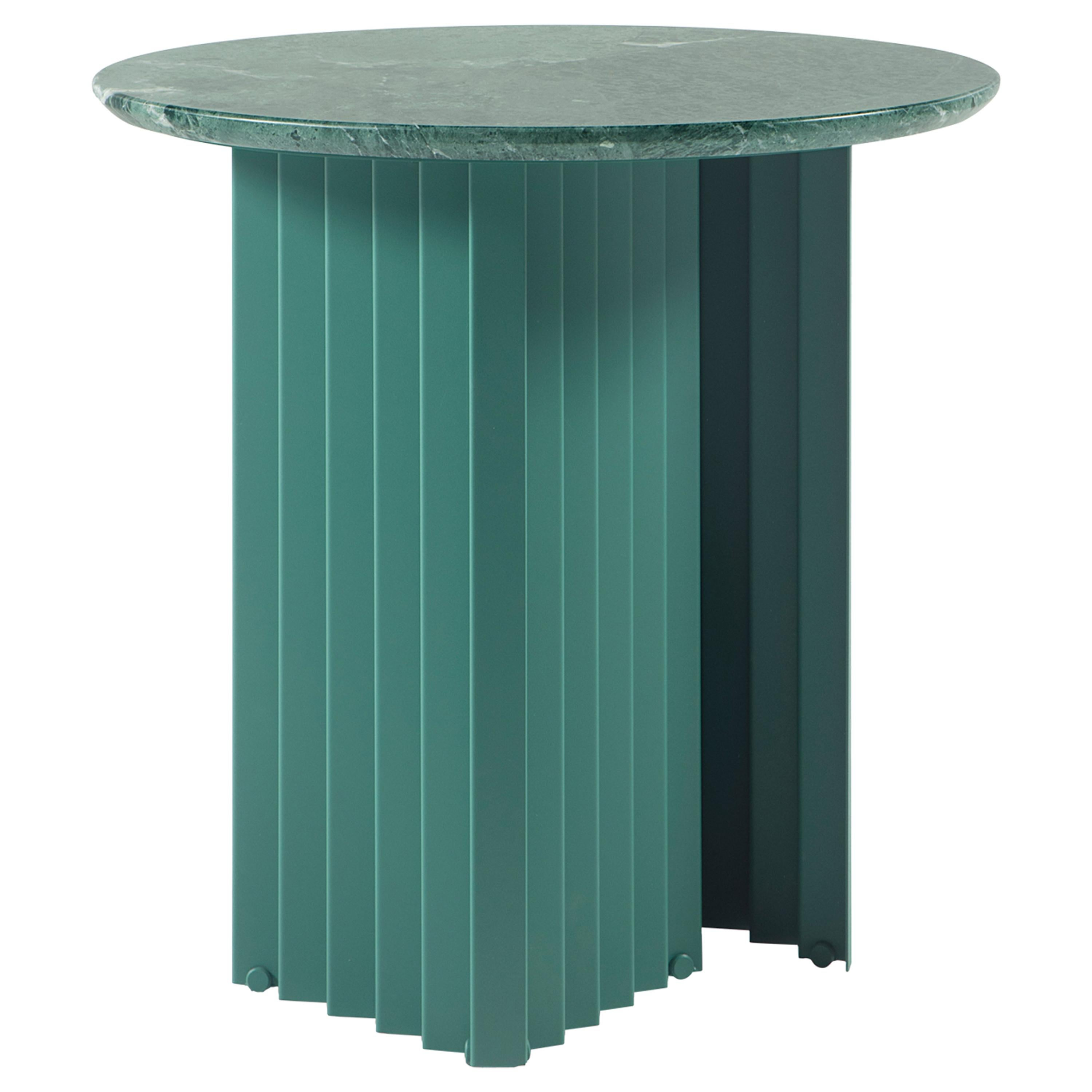 RS Barcelona Plec Round Small Table in Green Marble by A.P.O.