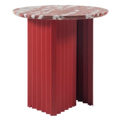 RS Barcelona Plec Round Small Table in Red Marble by A.P.O.
