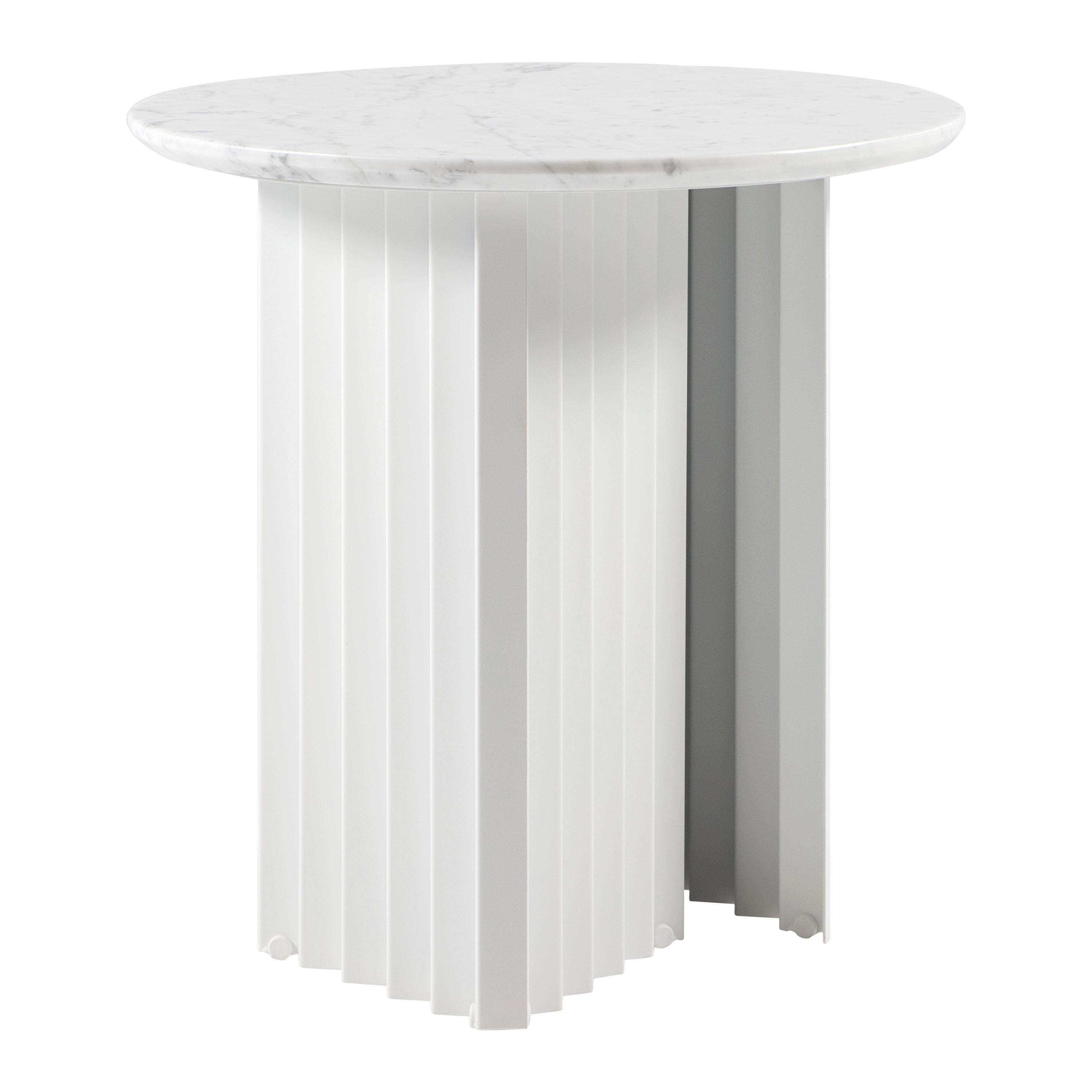 RS Barcelona Plec Round Small Table in White Marble by A.P.O.
