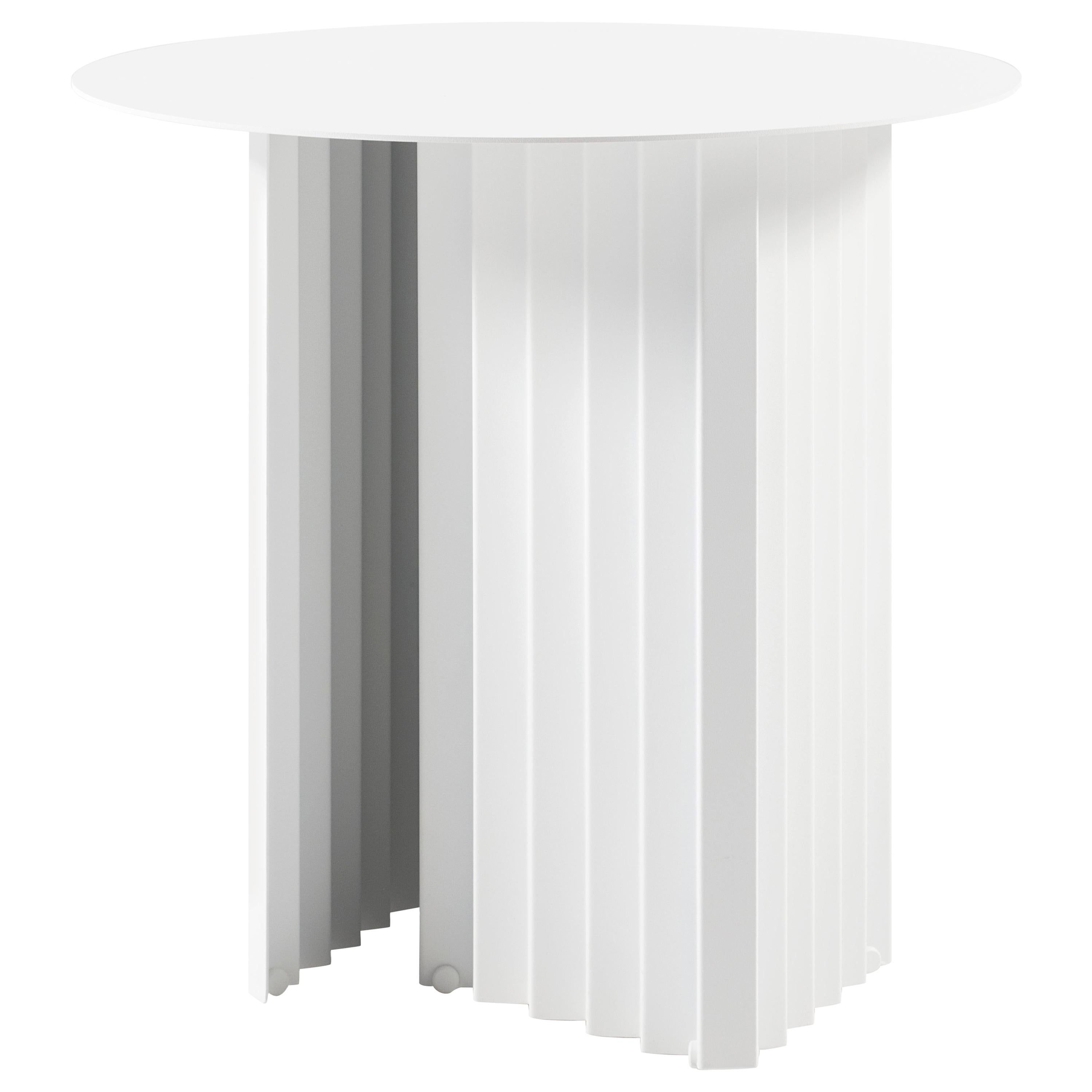 RS Barcelona Plec Round Small Table in White Metal by A.P.O.