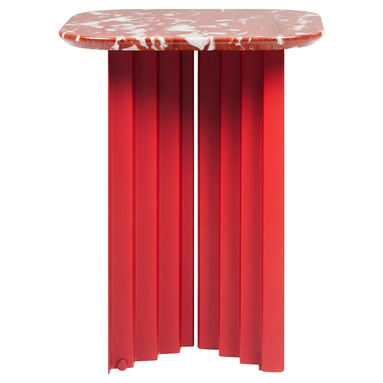 RS-Barcelona Small Plec Table in Red Marble by A.P.O. For Sale