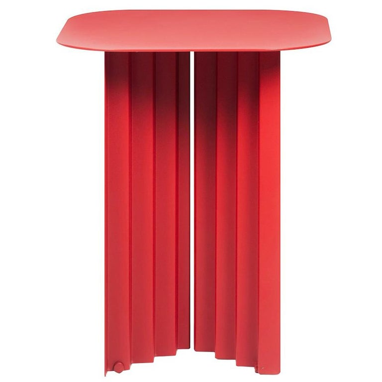 RS-Barcelona Small Plec Table in Red Metal by A.P.O. For Sale