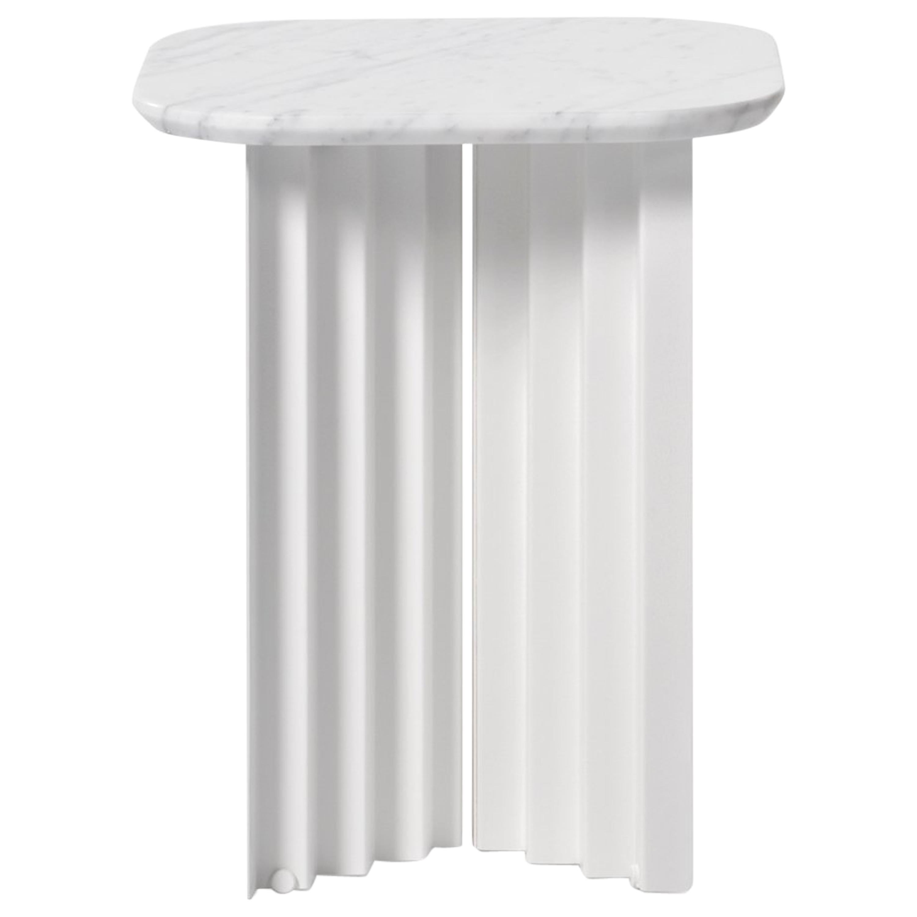 RS Barcelona Plec Small Table in White Marble by A.P.O.