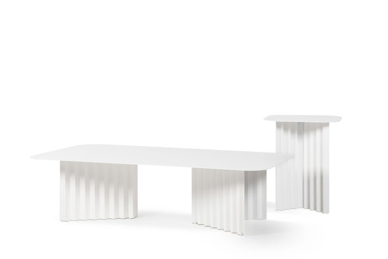 Contemporary RS-Barcelona Small Plec Table in White Metal by A.P.O. For Sale