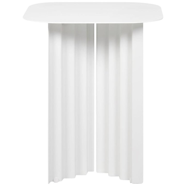 RS-Barcelona Small Plec Table in White Metal by A.P.O. For Sale