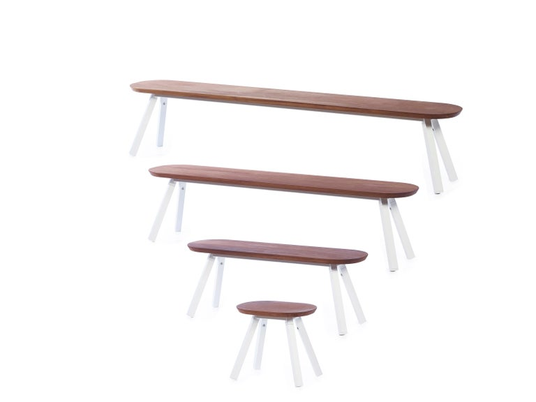 Steel RS-Barcelona You and Me 120 Bench in Iroko and White by A.P.O. For Sale