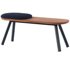 RS-Barcelona Small You and Me Bench in Walnut with Short Black Cushion by A.P.O.