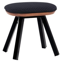 RS-Barcelona You and Me Stool in Walnut and Black with Black Cushion by A.P.O.