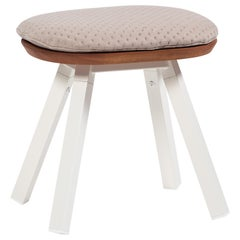 RS-Barcelona You and Me Stool in Walnut and White with Linen Cushion by A.P.O.