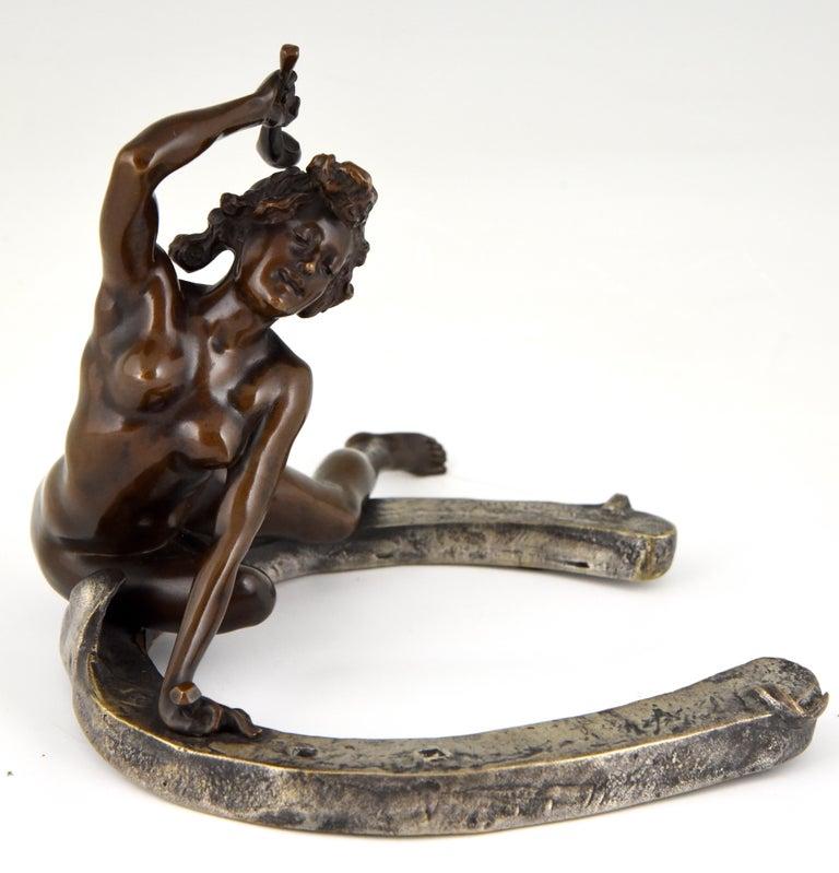 French Art Nouveau Bronze Sculpture Nude on a Horseshoe Georges Récipon 1896 Original For Sale