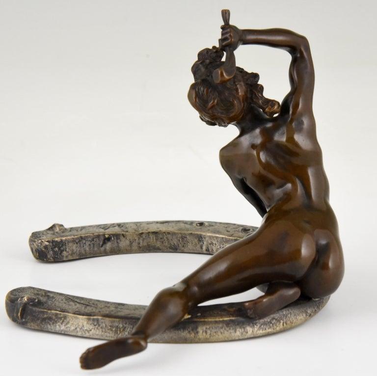 Late 19th Century Art Nouveau Bronze Sculpture Nude on a Horseshoe Georges Récipon 1896 Original For Sale