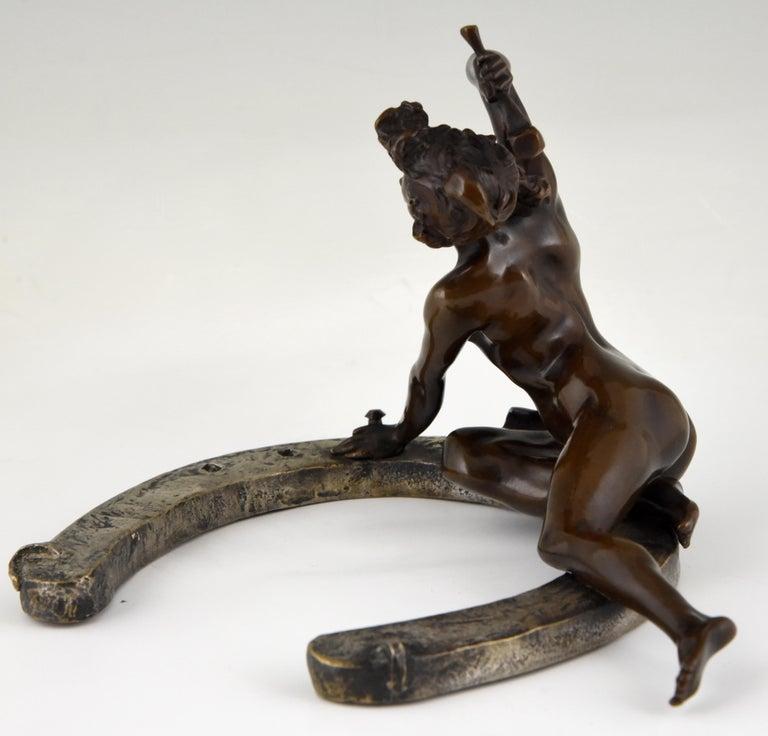 Art Nouveau Bronze Sculpture Nude on a Horseshoe Georges Récipon 1896 Original For Sale 1