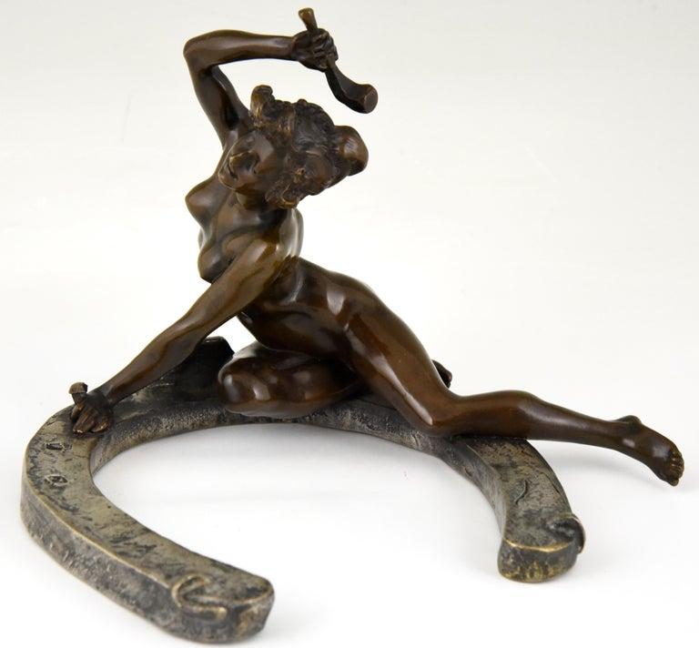 Art Nouveau Bronze Sculpture Nude on a Horseshoe Georges Récipon 1896 Original For Sale 3
