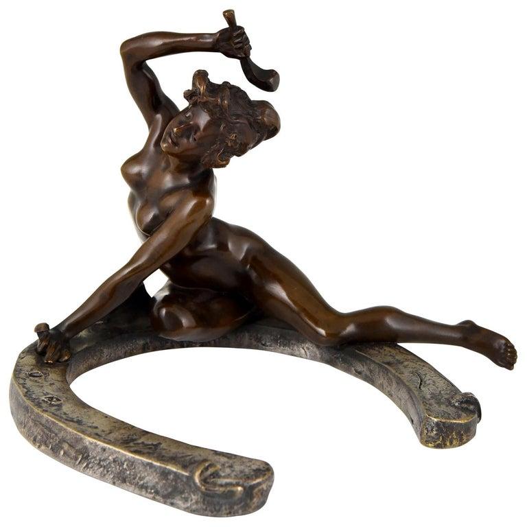 Art Nouveau Bronze Sculpture Nude on a Horseshoe Georges Récipon 1896 Original For Sale