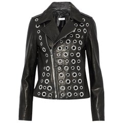 RtA Cleo Eyelet-Embellished Leather Biker Jacket
