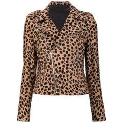 RtA Nico Cheetah-Print Calf-Hair Moto Jacket