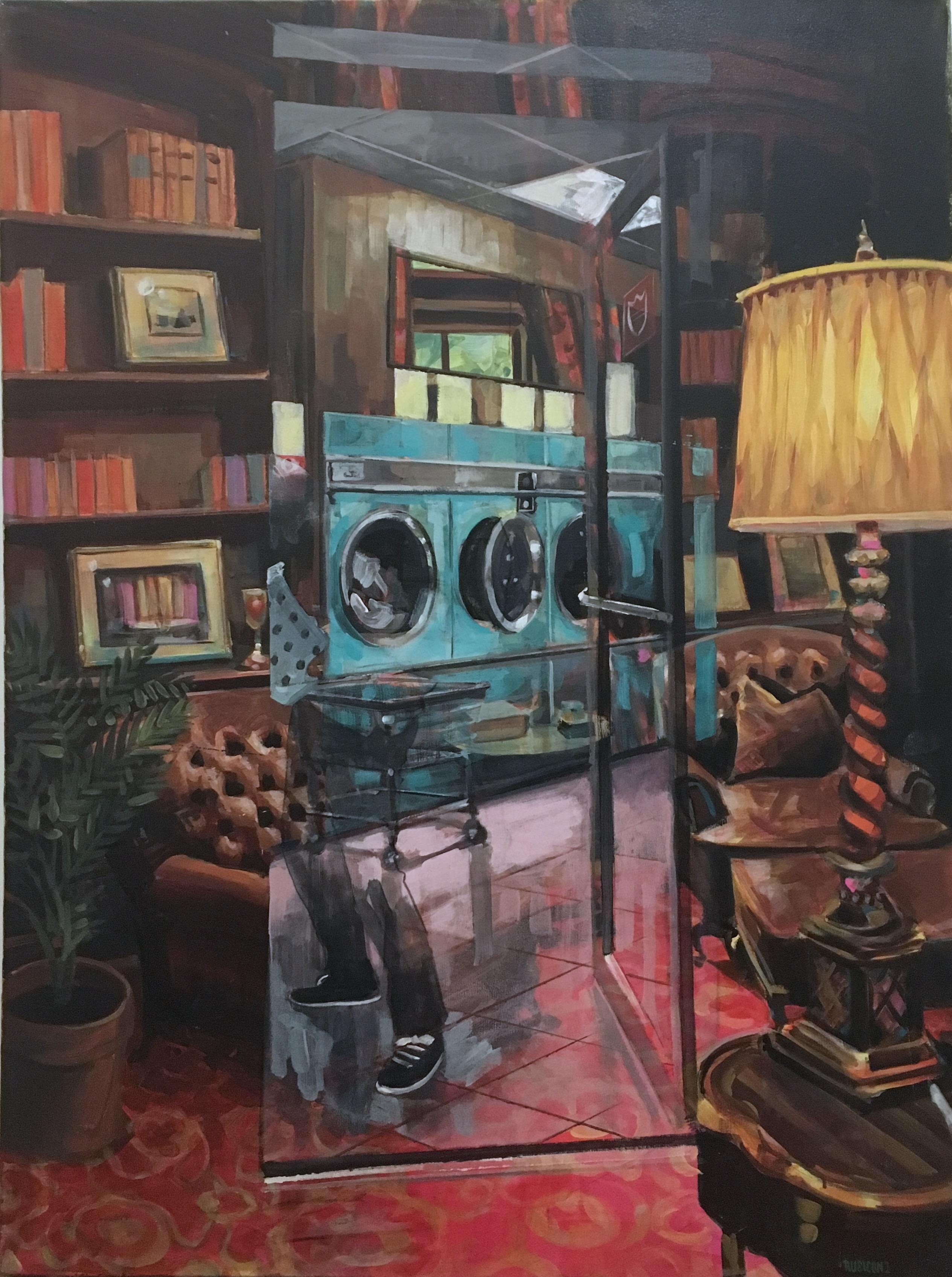 Living Room, 2017, figurative, interior, wood, library, Barcelona, street art