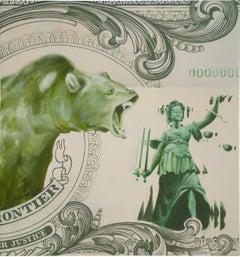 Ora Esset Justitia, Oil, Acrylic & Spray Paint on Canvas, Bear & Lady Justice