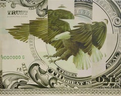 Ordus Naturalis, Oil and Acrylic on Canvas Painting, Eagle & US Dollar, Currency