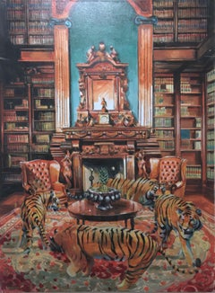 The More I See of Civilization, 2017, tiger, figurative, carpet, library, wood