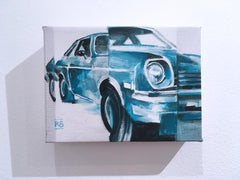 Vega, figurative, acrylic on canvas, turquoise, 1970's Chevy Vega muscle car