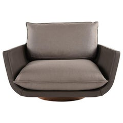Rua Ipanema Lounge Chair by Yabu Pushelberg Anthracite Leather and Linen Blend