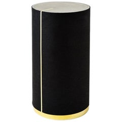 Rubber and Concrete CYL II Side Table with Brass Trim Base by Slash Objects
