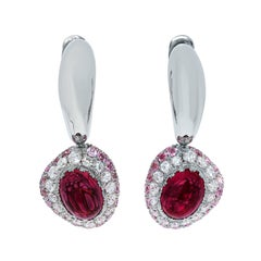 Rubelite 1.65 Carat Diamonds Sapphire Ruby White 18 Karat Gold Riviera Earrings