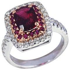 Rubelite 1.66 Carat Ruby 0.37ct with Diamond 0.66 Ct Ring in 18 Karat White Gold