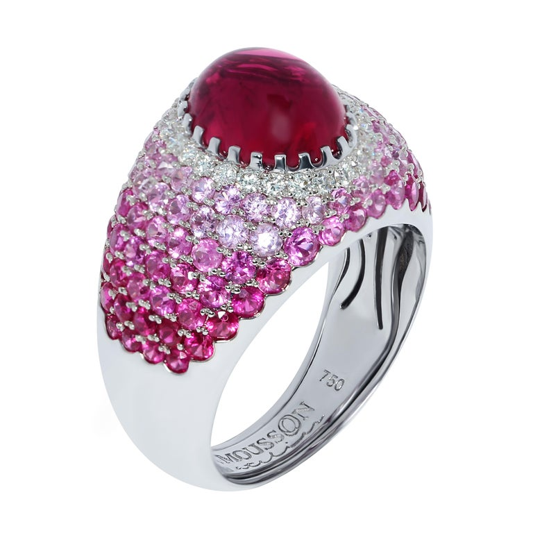 Rubelite 2.79 Carat Diamonds Rubies Sapphires White 18 Karat Gold Riviera Ring The name and the variety of colours in this collection are associated with the bright Italian and French Riviera, vivid and colourful houses and sun reflections on the