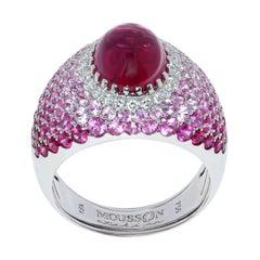 Rubelite 2.79 Carat Diamonds Rubies Sapphires White 18 Karat Gold Riviera Ring